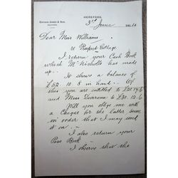 Unidentified Francis James (?) Signed Letter (Gwynne James & Son Hereford)