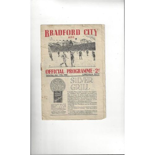 1947/48 Bradford City v Lincoln City Football Programme