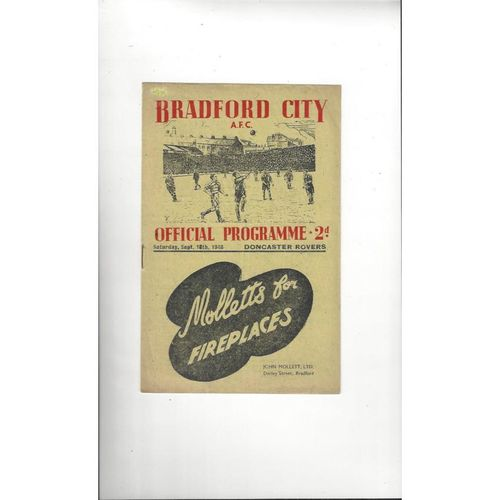 1948/49 Bradford City v Doncaster Rovers Football Programme