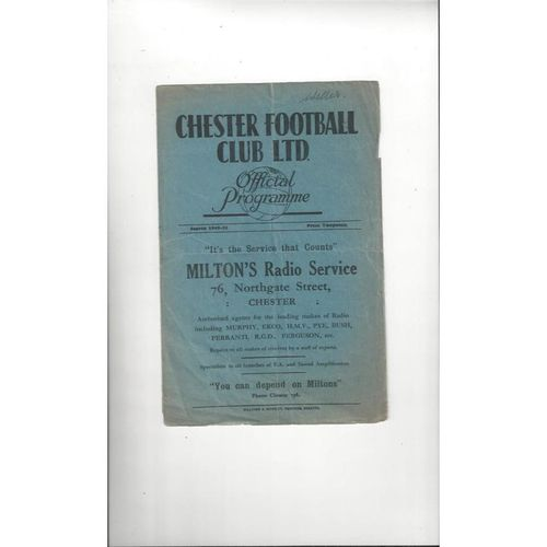 1949/50 Chester v Bradford City Football Programme