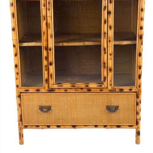 Victorian Chinoiserie bamboo and rattan cabinet