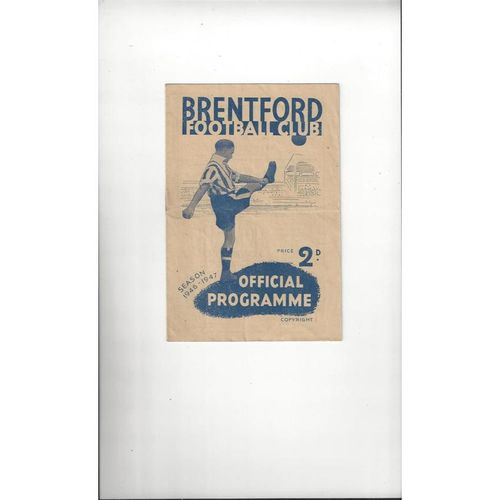 1946/47 Brentford v Charlton Athletic Football Programme
