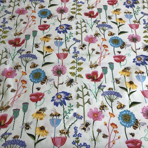 Beautiful Bees Cream Cotton