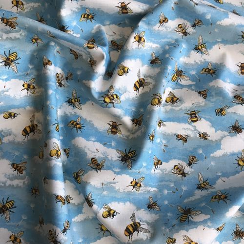 Beautiful Bees Blue Cotton