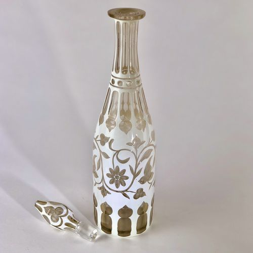 White overlay Mid 19th Century decanter