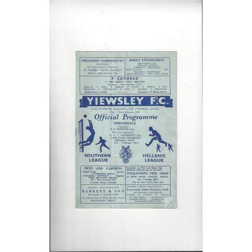 1962/63 Yiewsley v Trowbridge Town Football Programme