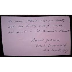 Basil J Davis RN Autograph HMS Cormorant August 1917 (receiving ship, Gibraltar)