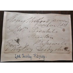 Lieutenant-Colonel Lord Charles FitzRoy (1791-1865) Signed Envelope