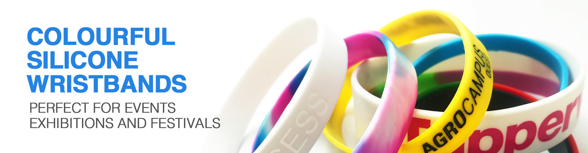 Silicone wristband, Silkscreened Wristband,  Debossed with/without Colour Infill Wristbands. Silicone Rings