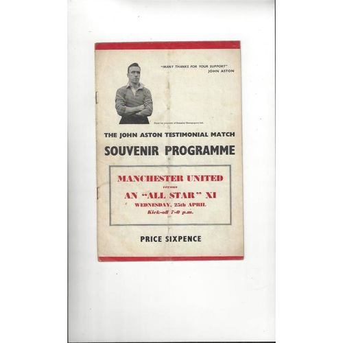 1956/57 Manchester United v All Star X1 J Aston Testimonial Football Programme