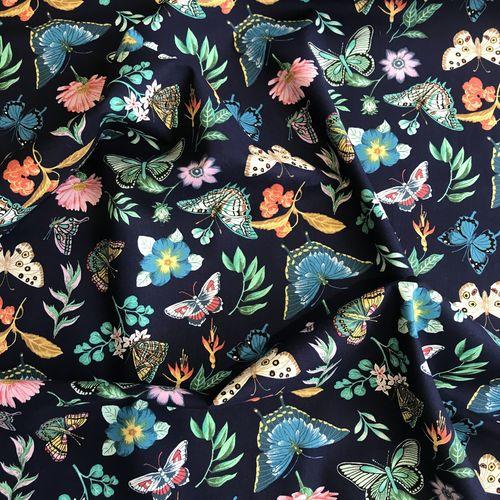 Beautiful Butterflies Blue Cotton