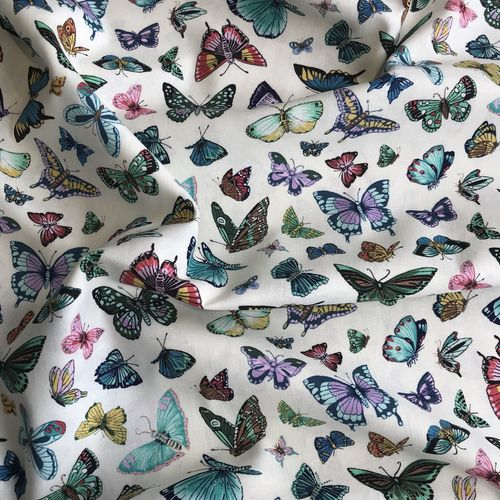 Beautiful Butterflies Cream Cotton