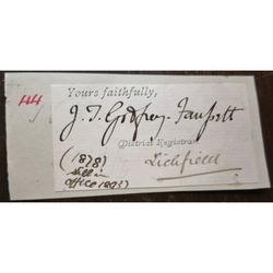 J T Godfrey-Faussett, Lichfield Registrar, Signature Clip