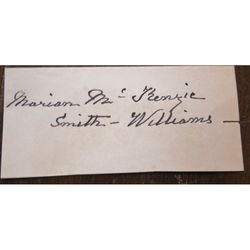 Marian McKenzie Smith-Williams Autograph