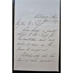 Henry Pelham Fiennes Pelham-Clinton Duke Newcastle Earl Lincoln Signed 1847  letter