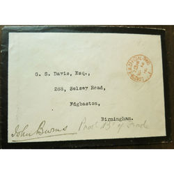 John Burns President Local Government Board 1910 Signed Envelope