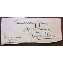 Phyllis Dare, Singer & Actress, Signed Letter Clip