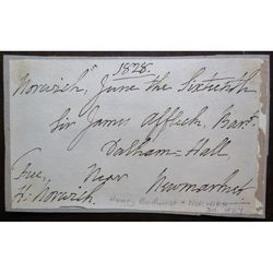 Henry Bathurst, Bishop of Norwich, Signed 1828 Address Clip
