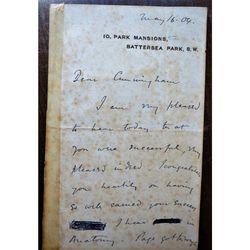 John Beresford Leathes DSc, MA, FRS, FRCS, FRCP 1904 Letter
