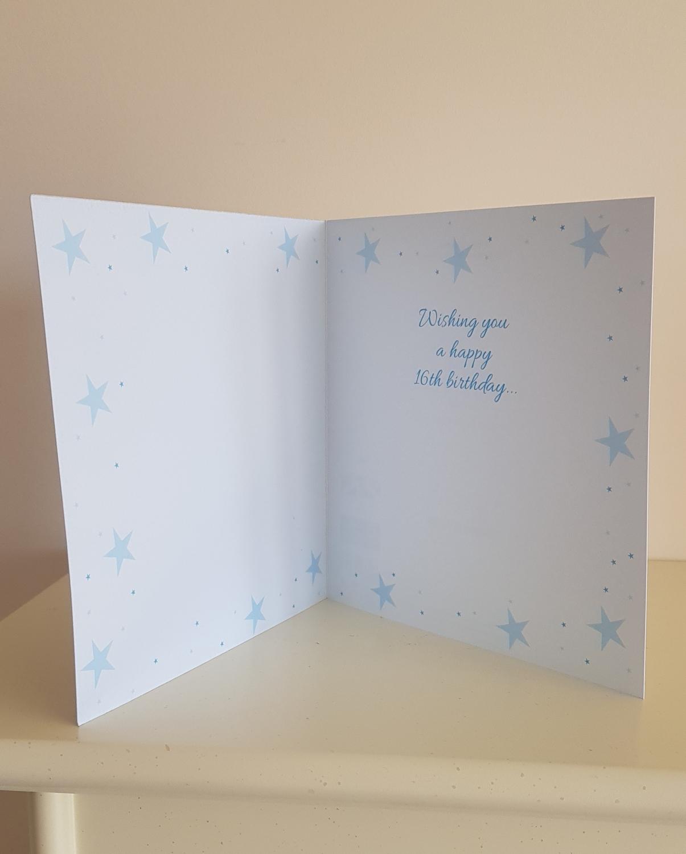 16th Coloured Stars Birthday Card