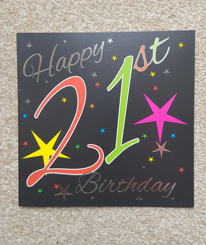 21st Stars Birthday Card