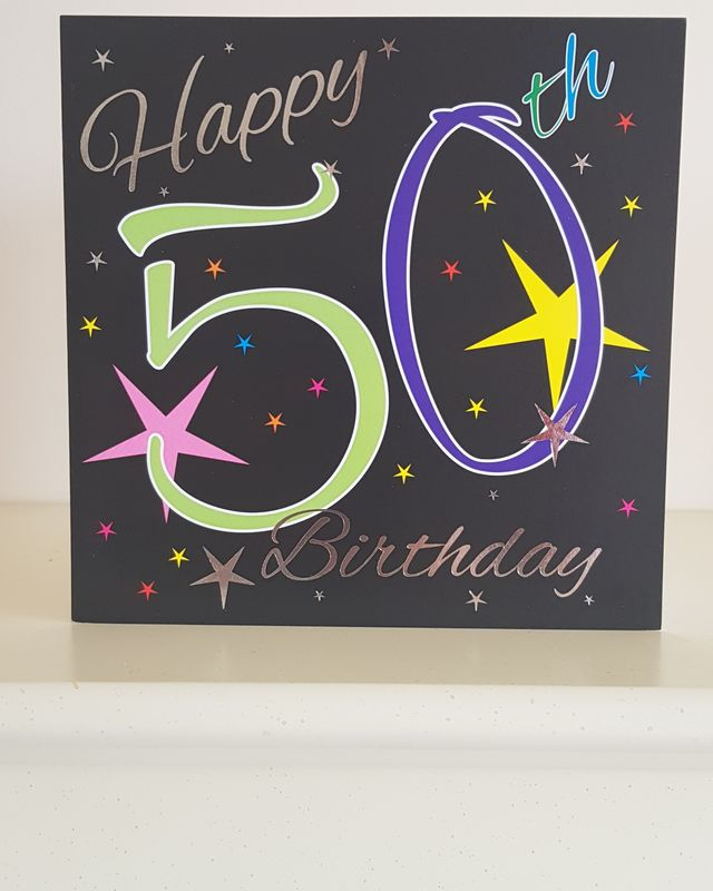 50th Coloured Stars Birthday Card Remember That Card Greeting