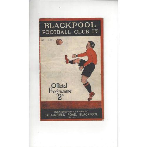 1932/33 Blackpool Reserves v Manchester United Reserves Football Programme