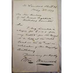 William Harwood Solicitor (Founder Stephenson Harwood & Co) 1899 Signed letter