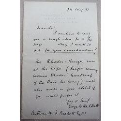 George Roland Halkett (1865-1918) signed 1898 Letter