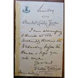 Lieutenant-General Sir Frederick Walter Kitchener, KCB Signed Part Letter