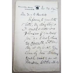 Sir Hugh Gilzean Reid (1836 – 1911) Signed Letter (1909?)