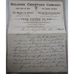 Haldane Crichton 1882 Signed Letter