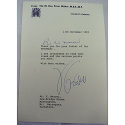 Rt Hon Peter Walker MP Autographed Letter 1985