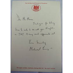 Lord Forsyth of Drumlean Signed Letter
