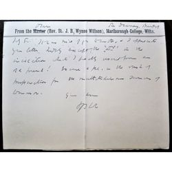 St John Basil Wynne Willson Dean Bristol, later Bishop Bath & Wells Signed Letter card