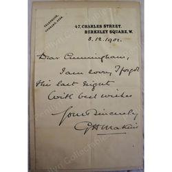 Sir George Henry Makins GCMG CB FRCS (1853-1933) Signed 1901 Letter