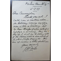 John Herbert Fisher FRCS 1907 Letter re Patient Treatment  (Corneal Ulcer ?)