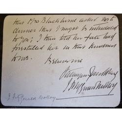 J Fitzgerald Molloy 1858-1908 Signed Letter Card (Novelist)