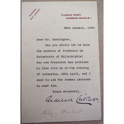 Sir (George) Anderson Critchett Surgeon-Oculist to Kings Edward/George 1923 Signed Letter
