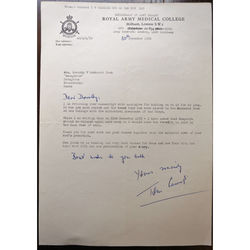 Colonel Thomas Welsh Carrick OBE MB ChB DPH DIH Signed 1970 Letter
