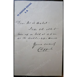 Lord Clifford Of Chudleigh Signed letter c1900