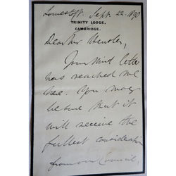 Henry Montagu Butler Master Trinity College Cambridge 1890 Signed Letter (prev Dean of Gloucester)
