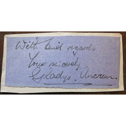 Gladys Ancrum (opera singer, especially Wagner) Signed letter clip