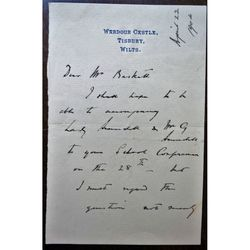 Baron Arundell of Wardour 1902 Letter