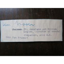 William Jocelyn Ian Fraser, Baron Fraser of Lonsdale , St Dunstans Autograph