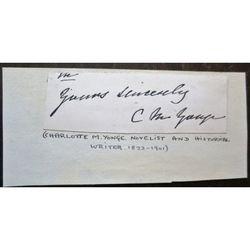 Charlotte Mary Yonge (1823–1901) Novelist Signed letter clip