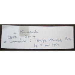 Lew Kowarski 1954 Autograph CERN