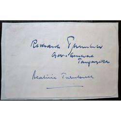 Sir Richard Gordon Turnbull Governor Tanganyika & Beatrice Turnbull Autographs