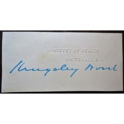 Howard Kingsley Wood, Minister of Health 1930-31 Signature Clip