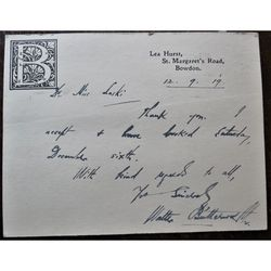 Walter Butterworth Signed 1919 Letter card Chair Manchester City Art Gallery